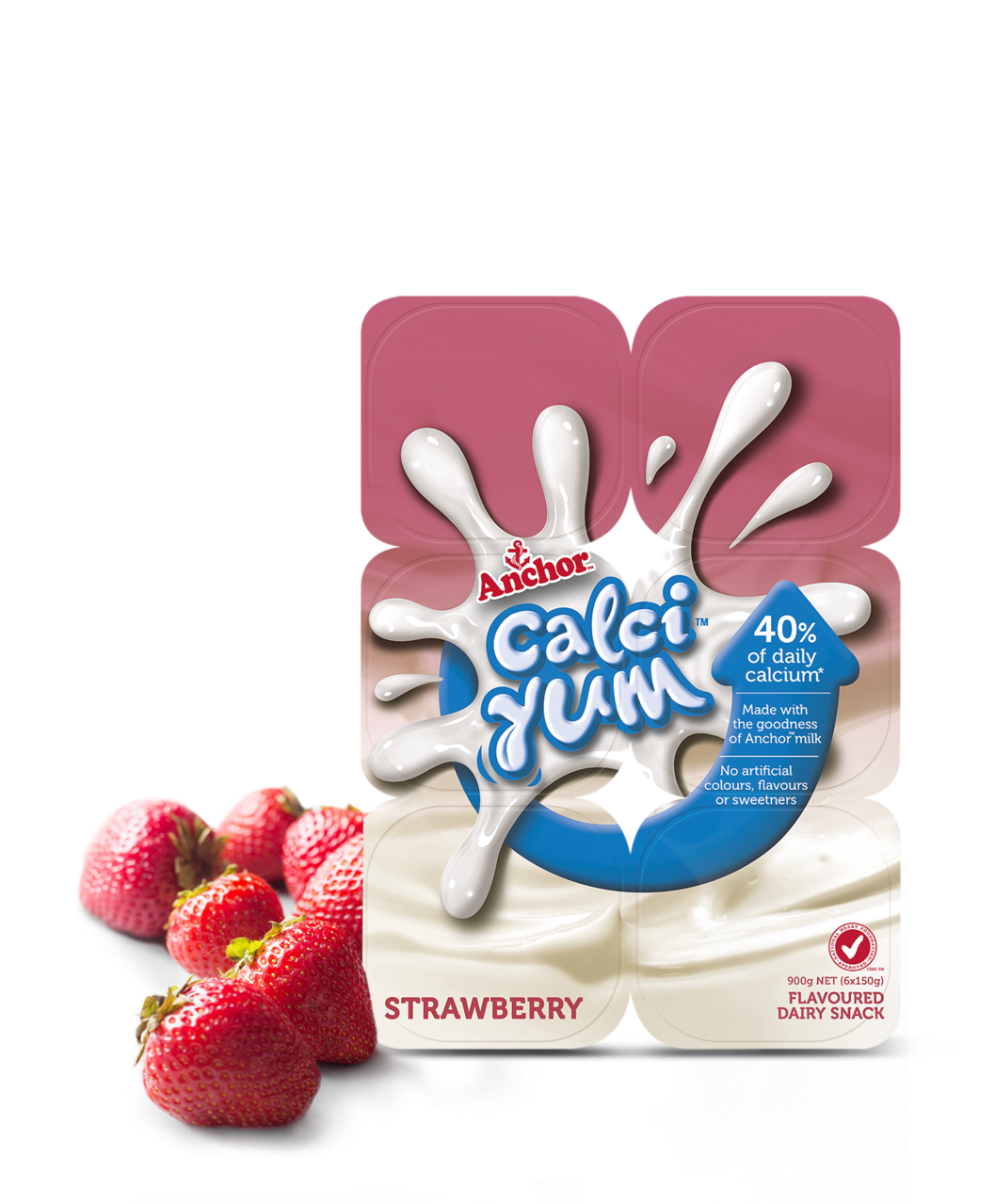 Anchor CalciYum Strawberry 6 x 150g pack