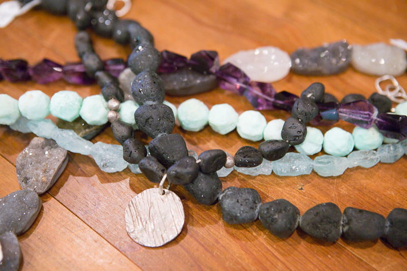 "For her trunk show at Kittie Kyle, Saundra is incorporating a custom aspect, working with customers to pair colored gemstones with silver. ""I love the interaction with the customers because they always show me something I hadn't thought of,"" says Saundra."
