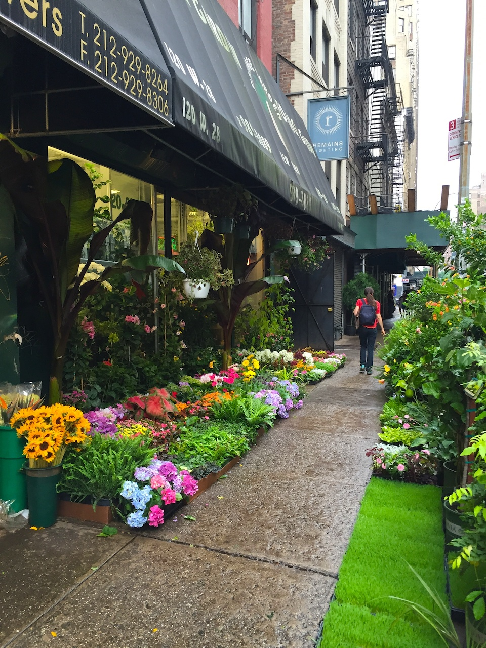 In the heart of Chelsea, 28th Street features one business after another selling plants and flowers. The bustle of Chelsea flower market is best in the morning, when delivery trucks bring fresh blooms.