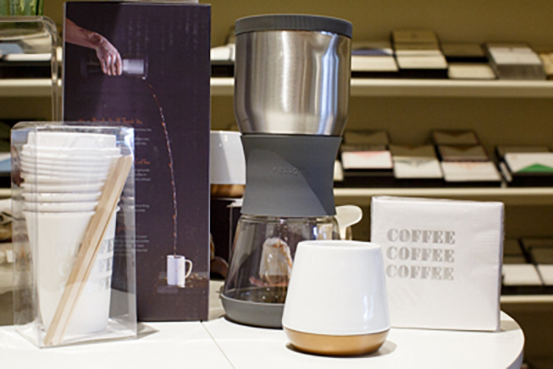 Fellow Duo coffee steeper, $95 and Joey mug, $22.50; napkins, $12; to-go cups with lids and stirs, $11, from Menage.