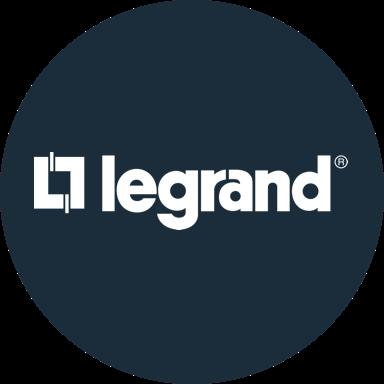 Dark blue circle with white Legrand logo