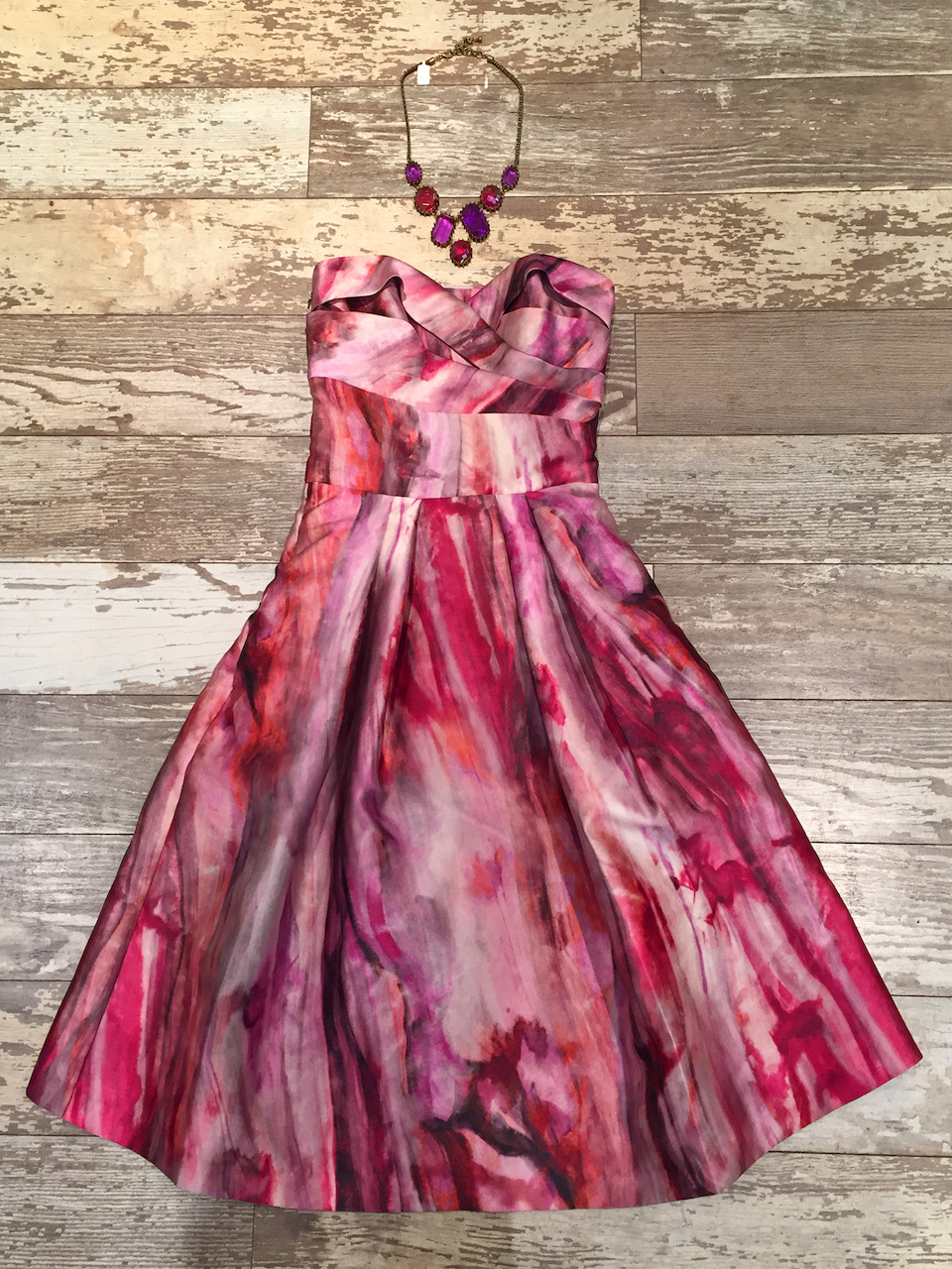 From The Clothes Tree: Pamela Roland strapless orchid cocktail dress, $490
