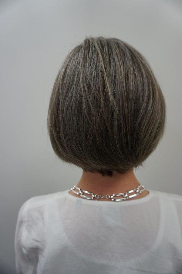 Beth Miller embraced her gray, cutting her shoulder-length hair into a chic bob.