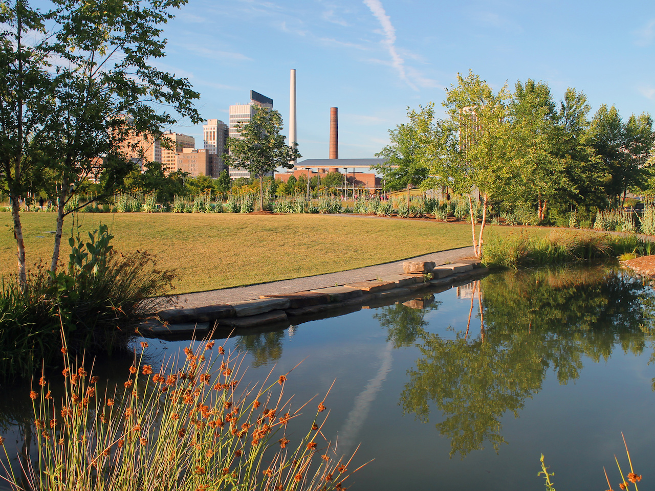 A tranquil scene at Railroad Park on a sunny afternoon