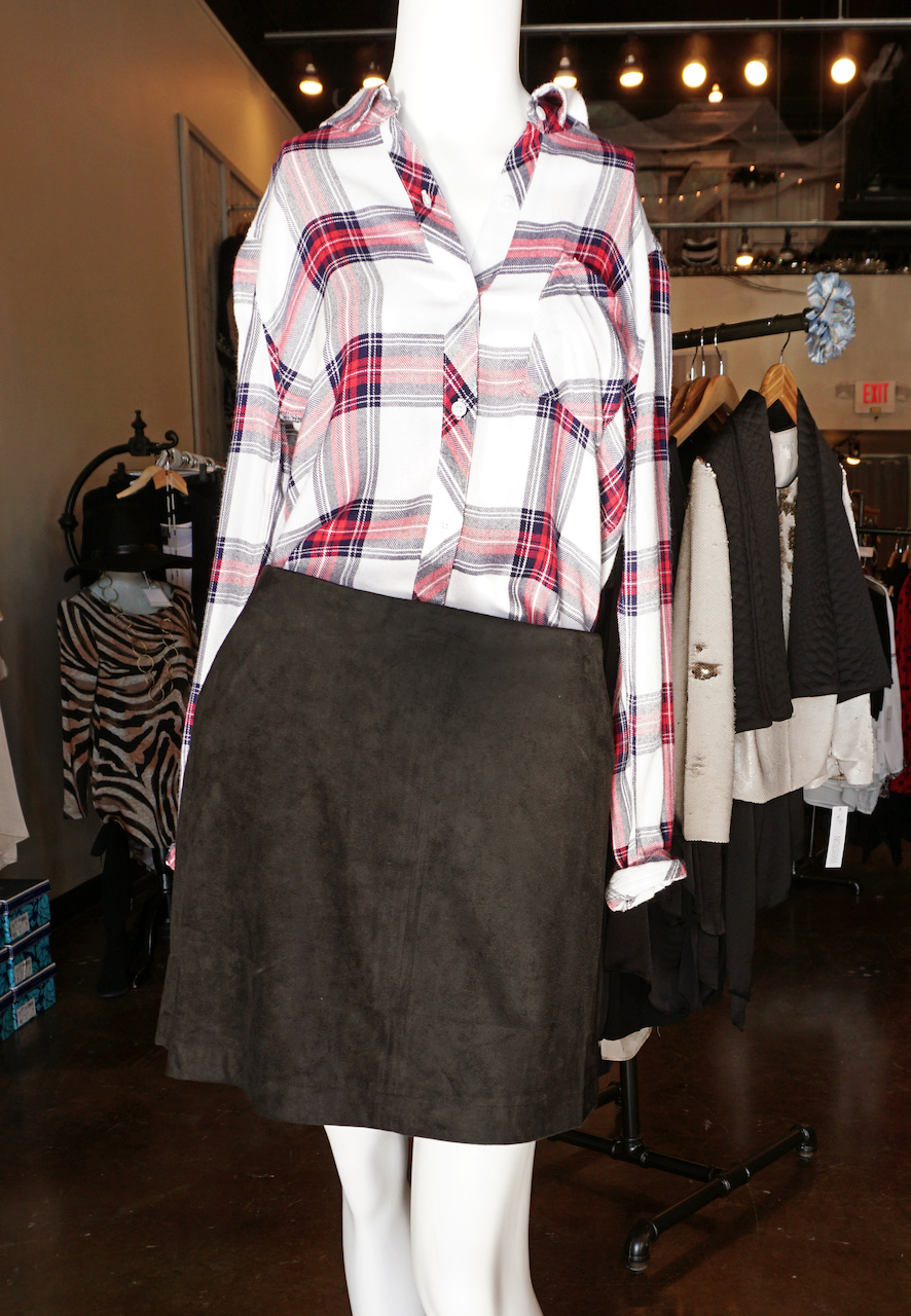 "From <a href=""https://styleblueprint.com/louisville/guide/blu-boutique/"" target=""_blank"">Blu Boutique</a>: Rails flannel, $134; Skirt, $90; Hat, $39"