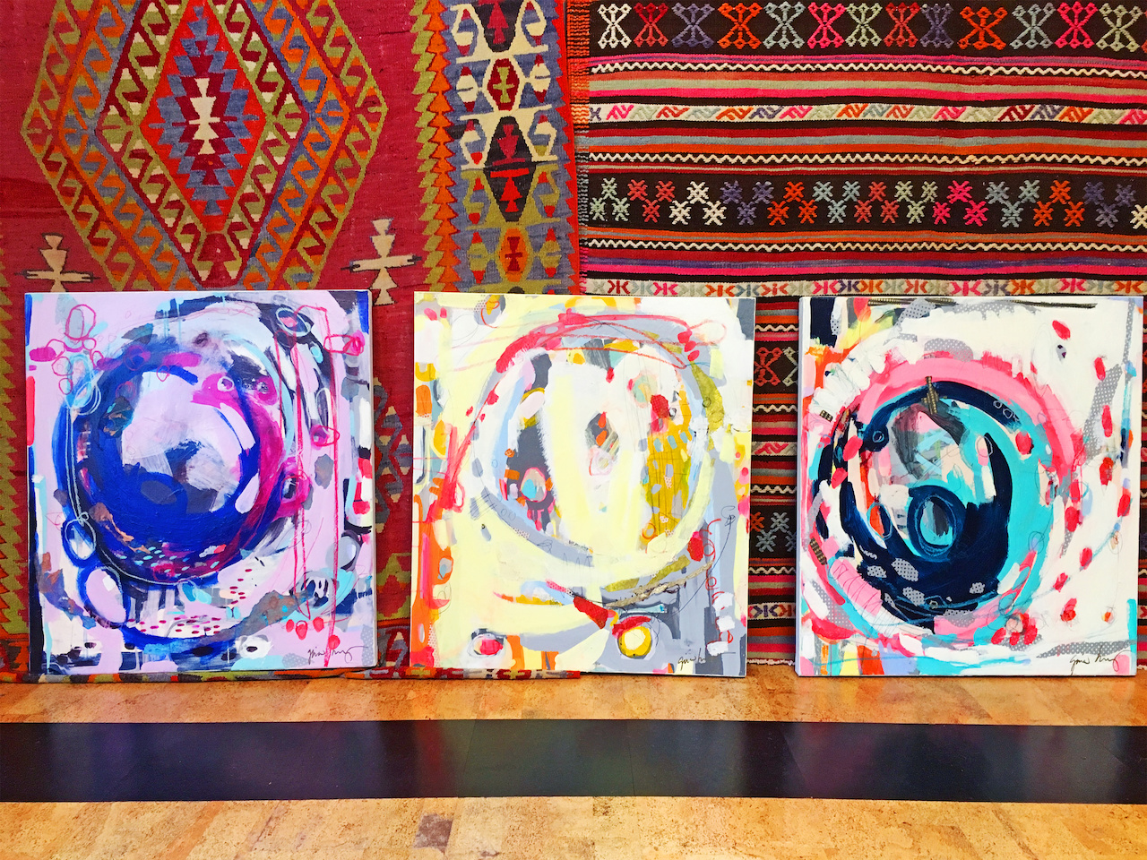 "Birmingham artist Gina Hurry's ""mercies are new"" paintings, $1,500 each, at Paige Albright Orientals"