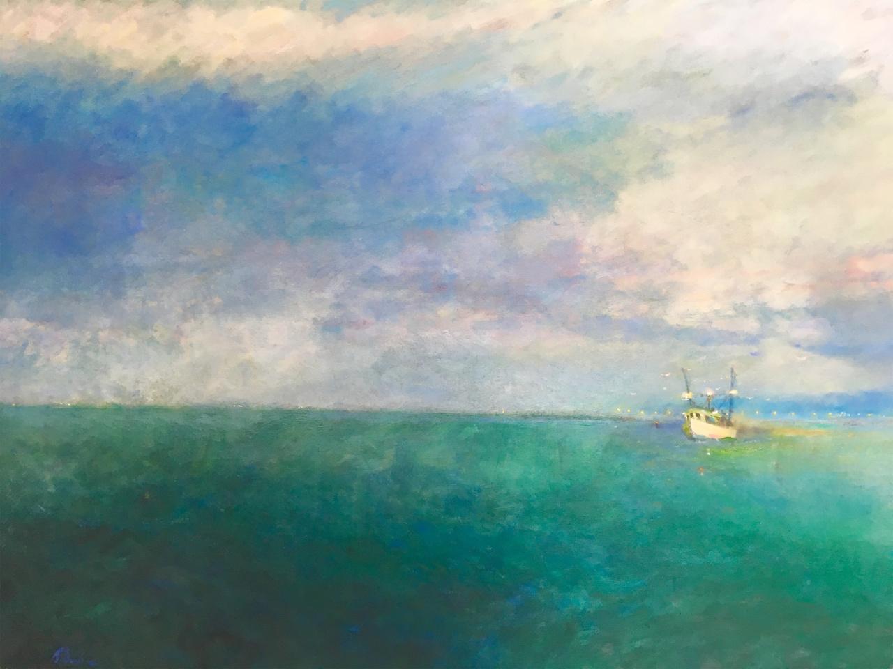 """""""Le Petit Bateau de Crevettes en Matinee,"""" 36 x 48, by Roger Meadows, $6,600"""