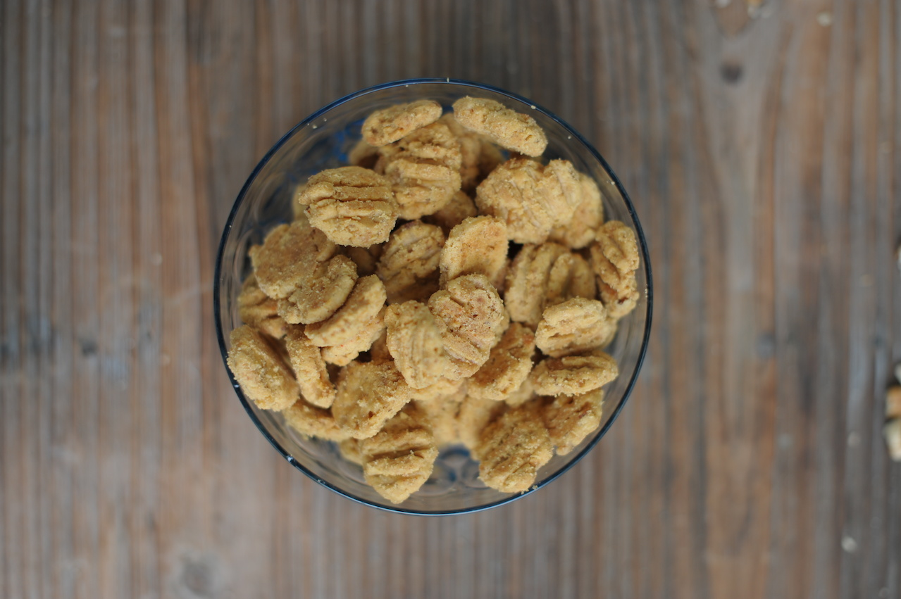 Cheese crispies, available in a 1- or 2 -pound box, or a set of three 8-ounce bags, $26.95 to $44 from Billie's Pecans