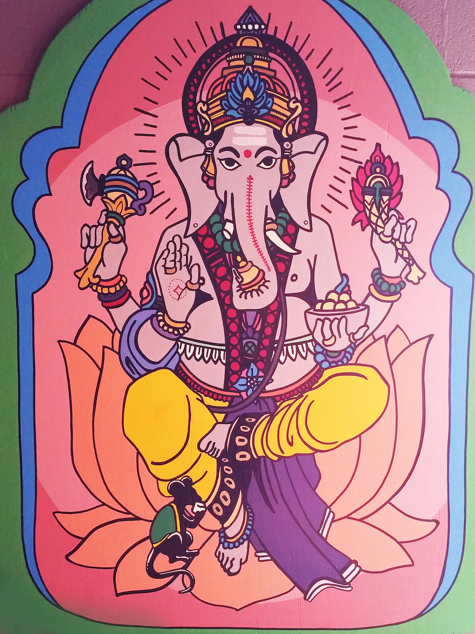 A Buddhist deity painting created by Yellowhammer Creative for wooden goat