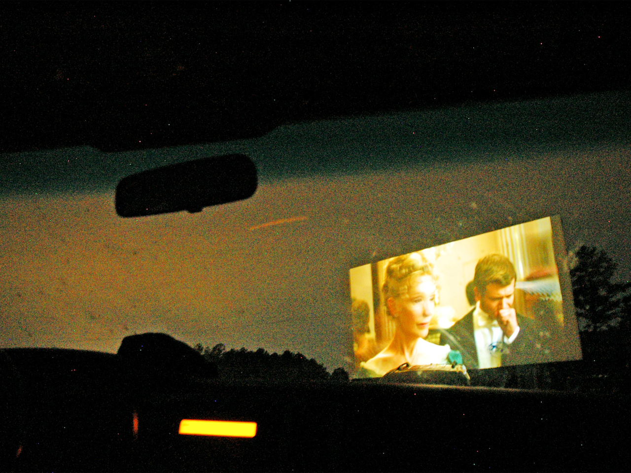 A view of the screen from the passenger seat
