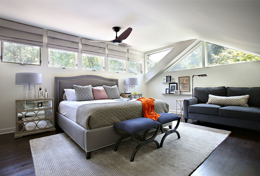 StyleBlueprint Atlanta: master bedroom with triangular windows