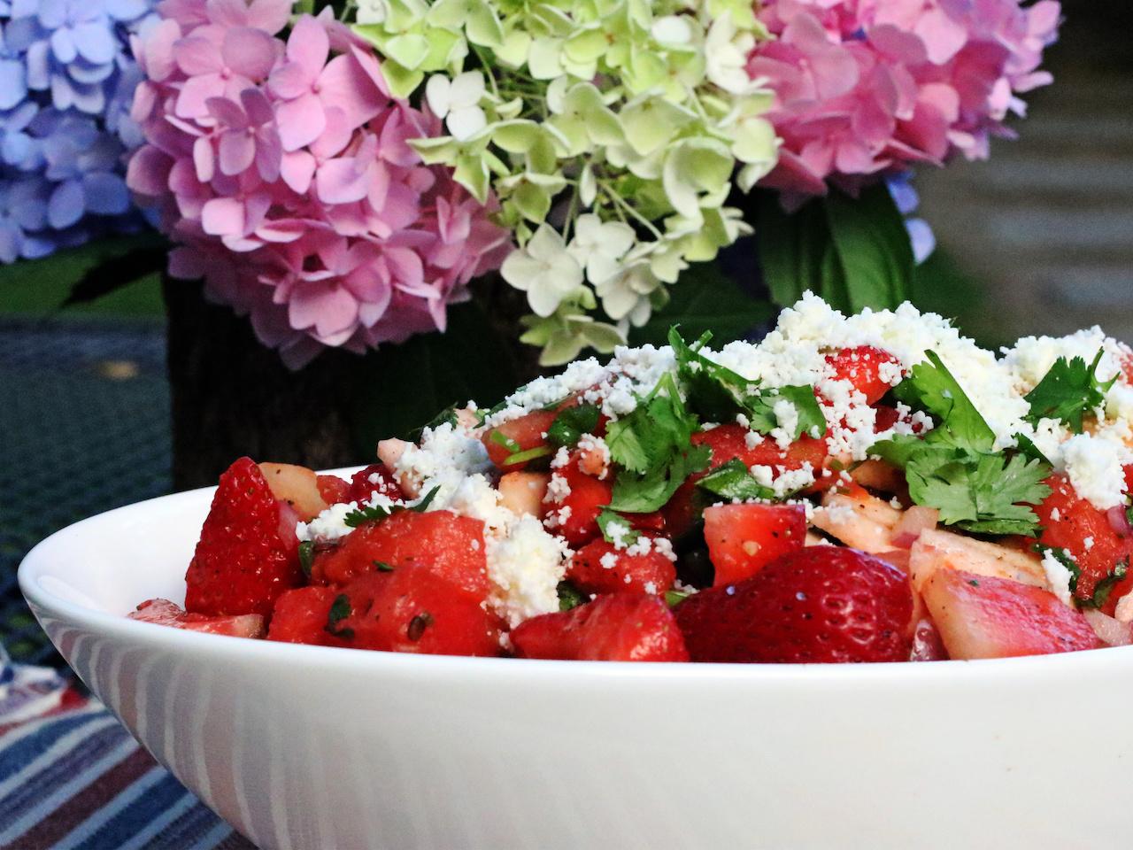 Spicy Watermelon Strawberry Jicama Salad