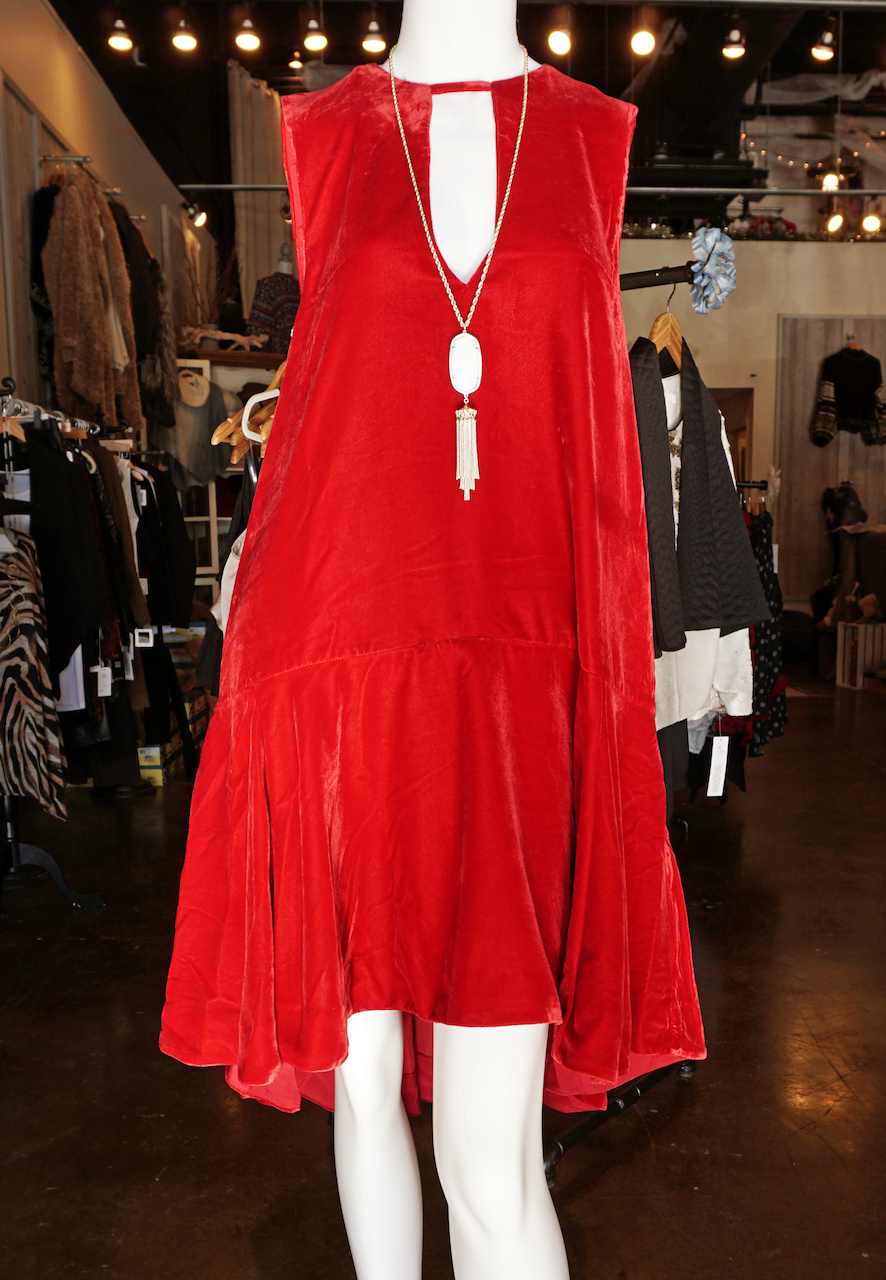 "From <a href=""https://styleblueprint.com/louisville/guide/blu-boutique/"" target=""_blank"">Blu Boutique</a>: Red velvet dress, $168; Kendra Scott necklace, $80"