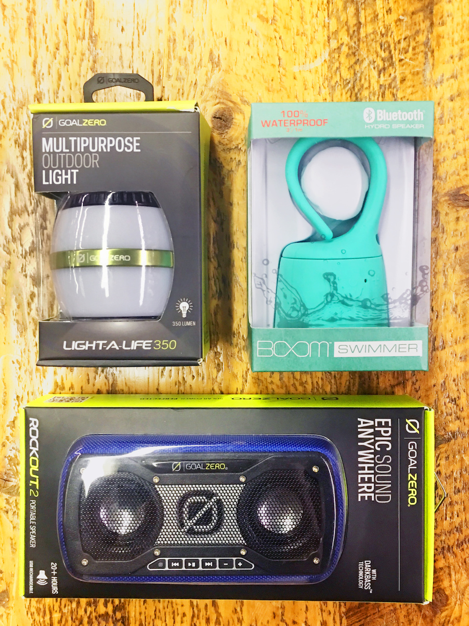 Goal Zero RockOut2 speaker and Boom Swimmer speaker, $59.99 each, and the Goal Zero Light-A-Life 350, $39.99, at Alabama Outdoors