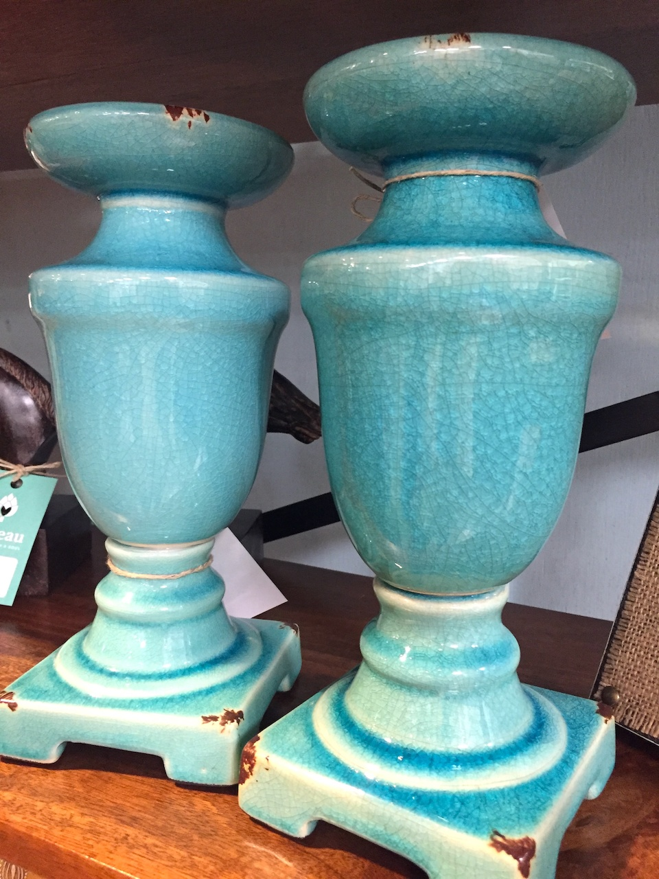 Crackled ceramic candle holders are just $12 each at Nadeau.