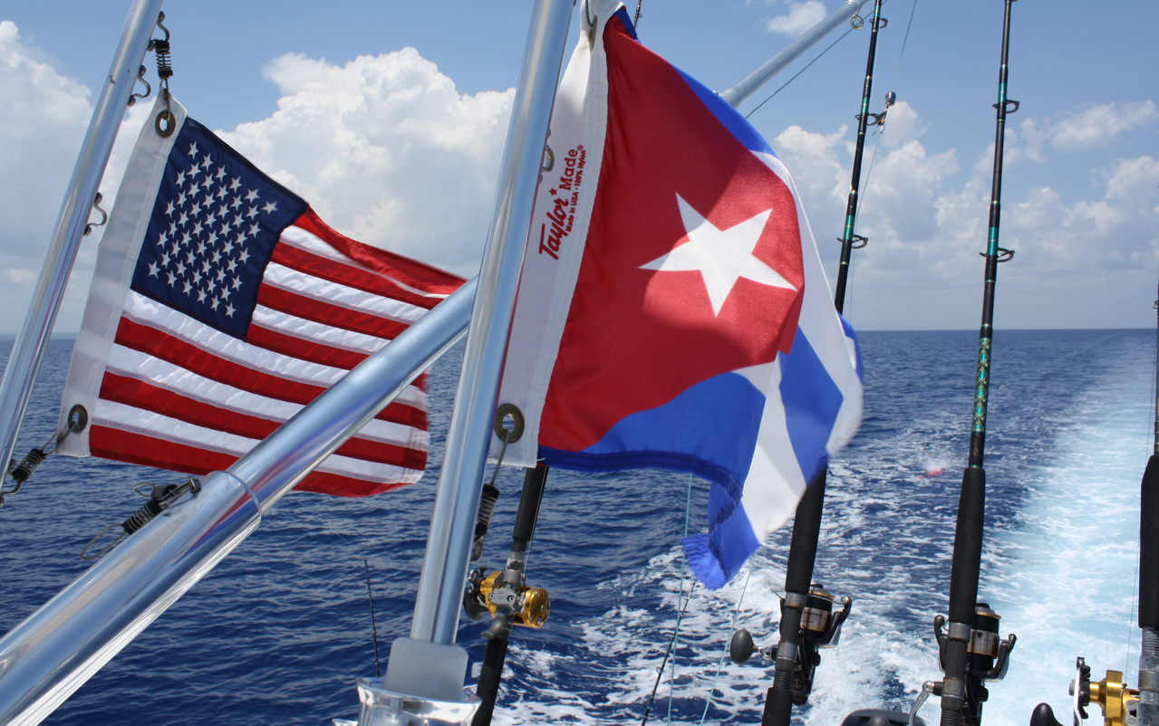 The flags of the United States and Cuba