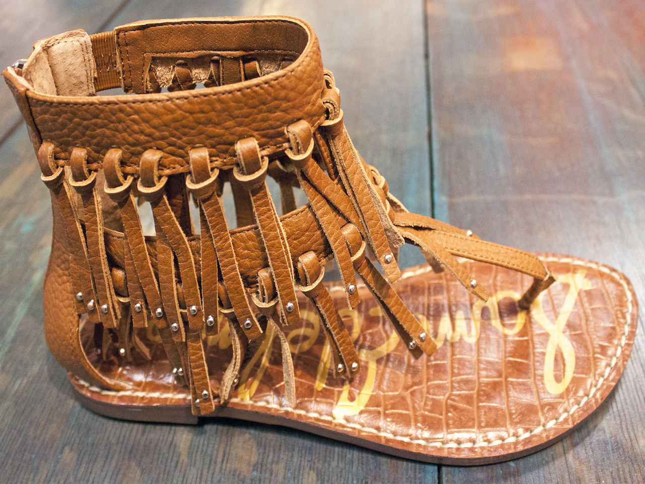 Whoa, total boho! Studded, fringe sandals, $130, at Sachi