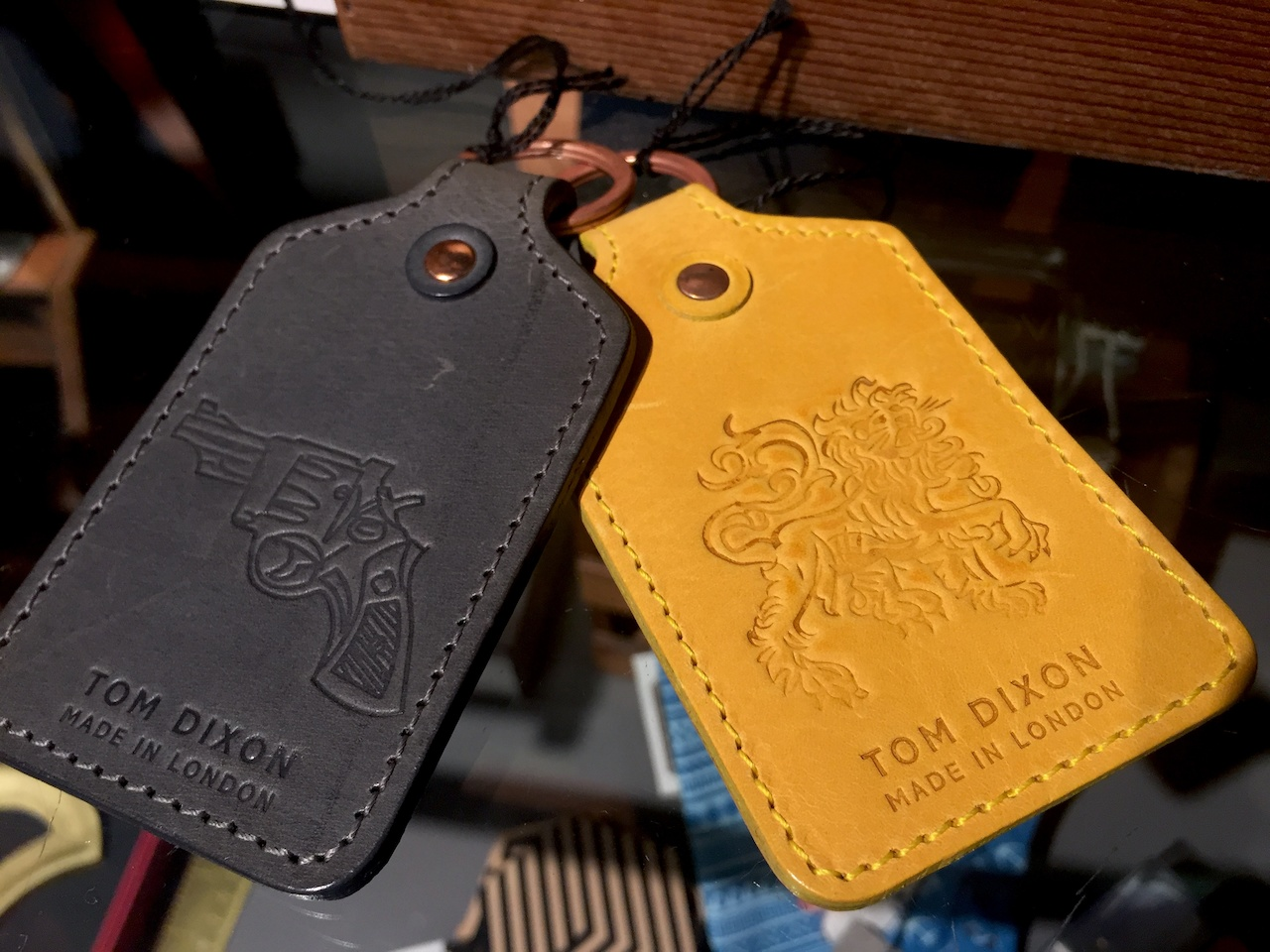 Embossed leather key tags, $18 each from 20Twelve at the Dixon
