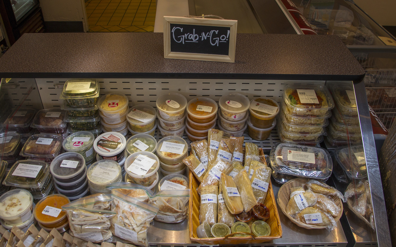 There are a number of grab-and-go cases throughout the market, filled with everything from soup bases to empanadas to chicken salad.