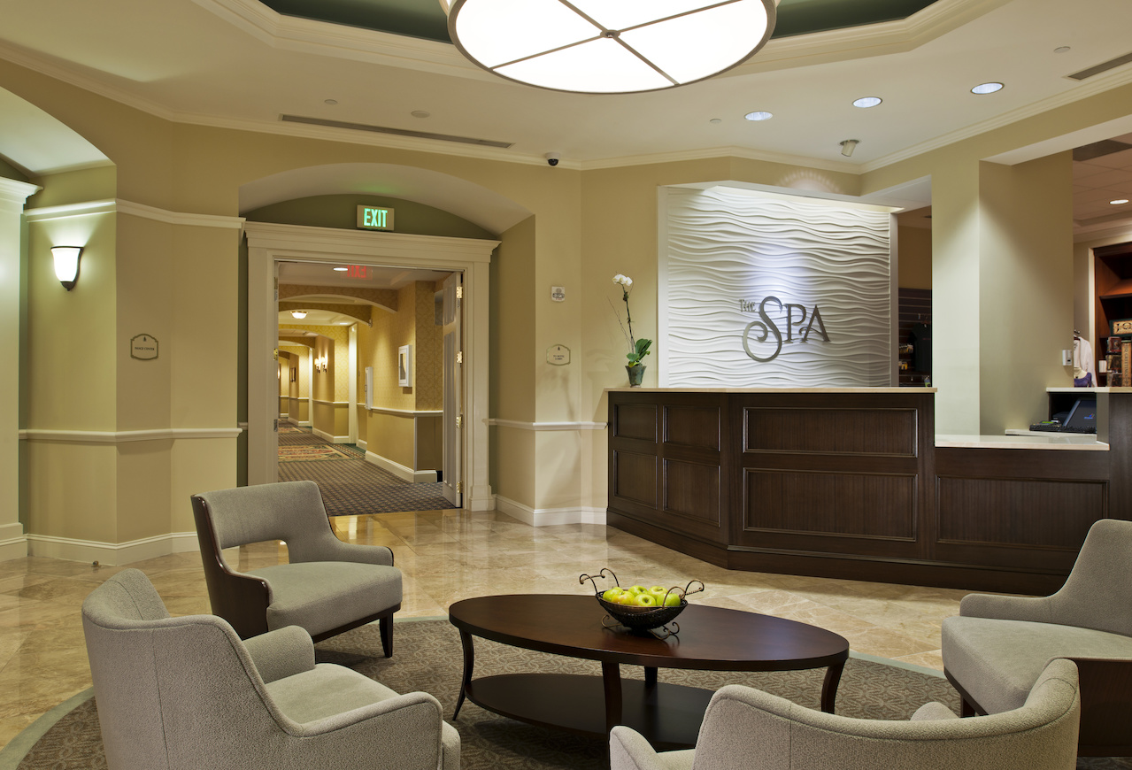 The Spa at Ballantyne has a warm and welcoming lobby area.