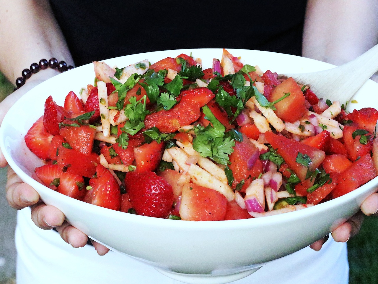 Spicy Watermelon, Strawberry & Jicama Salad — perfect for summer!
