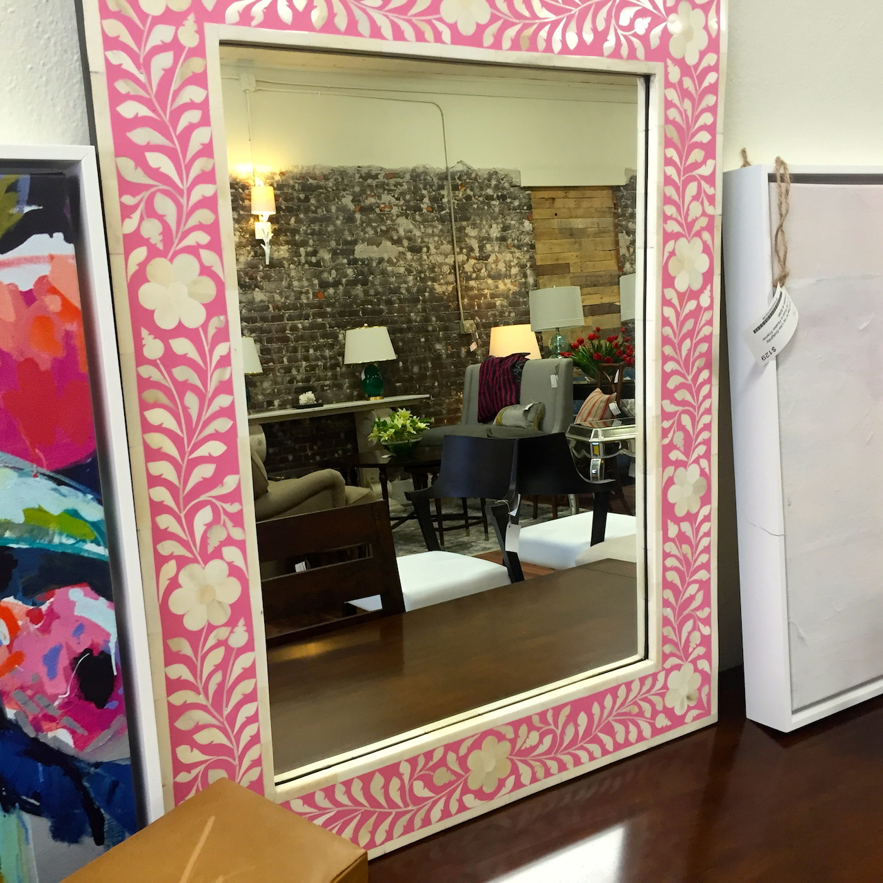 Pink bone inlaid mirror, $169 at Frugal Home Finds
