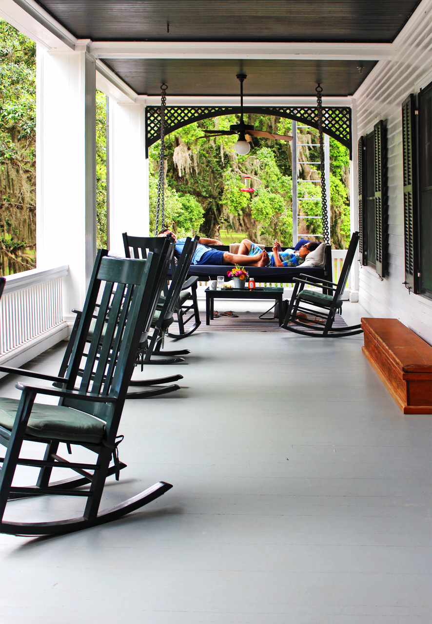 Guests at Greyfield Inn often spend a good part of the day on one of the porches.