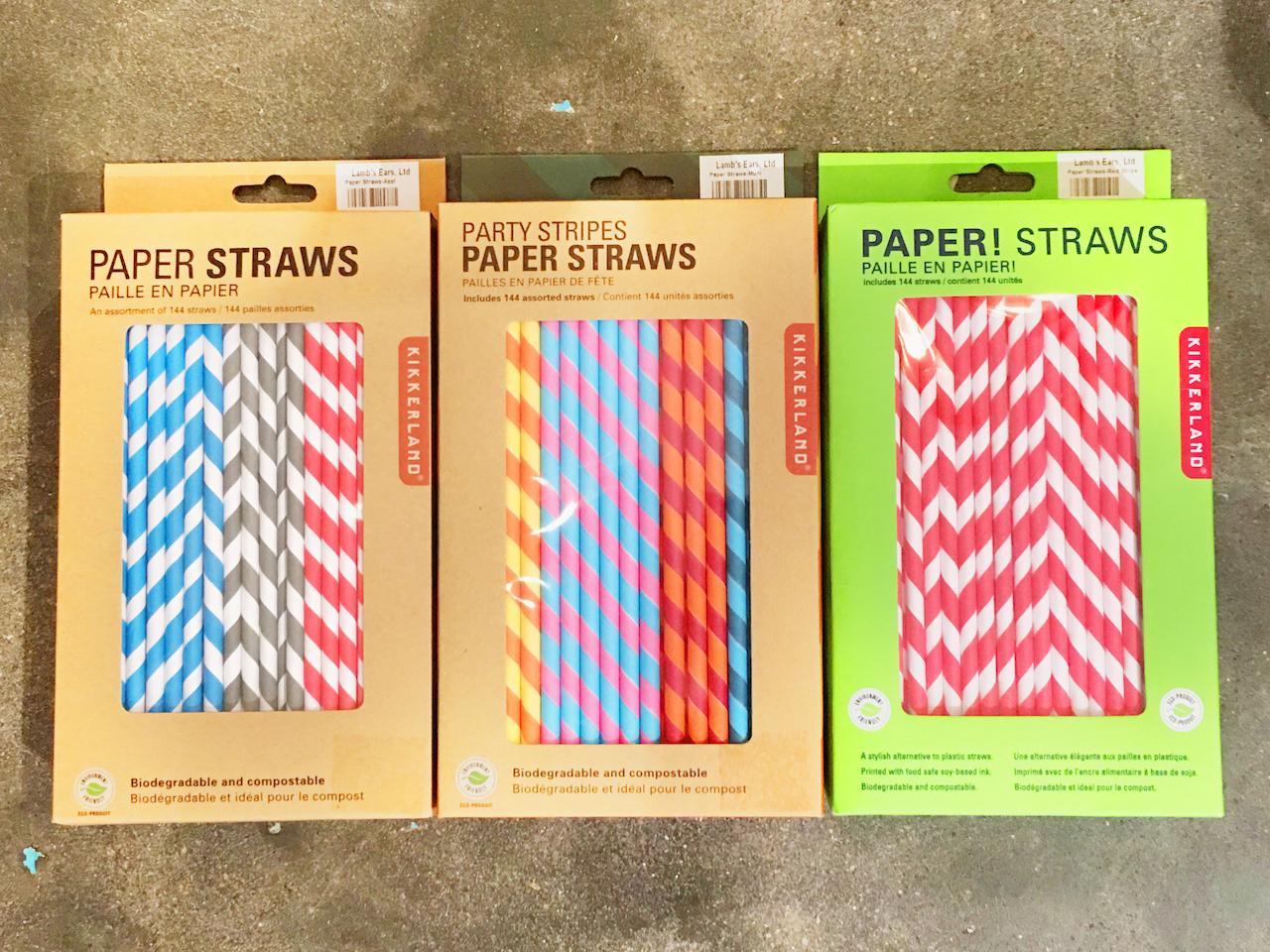 Paper straws, $8.95 per pack, at Lamb's Ears