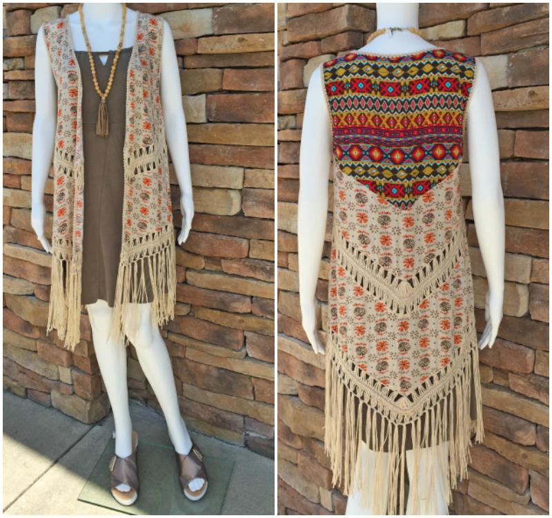 From Rogers Trading Company: multi fringe kimono vest, $34.99; olive microfiber dress, $98.99