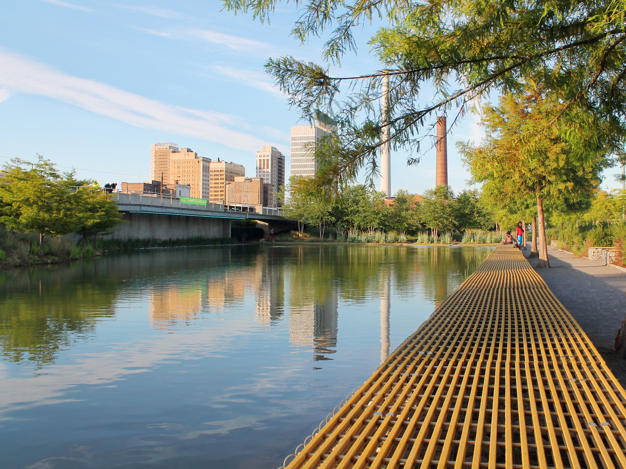Soak up a moment of serenity or quiet conversation at Railroad Park.