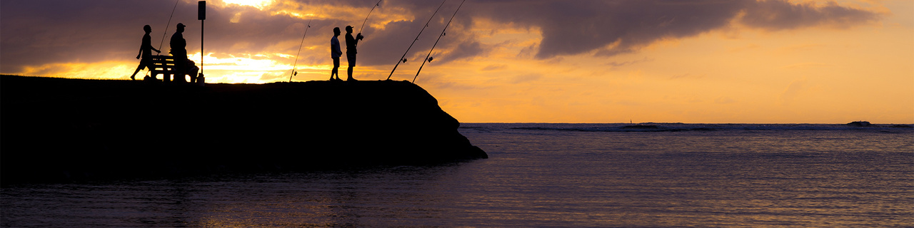 Evening fishing in the Pacific Islands.