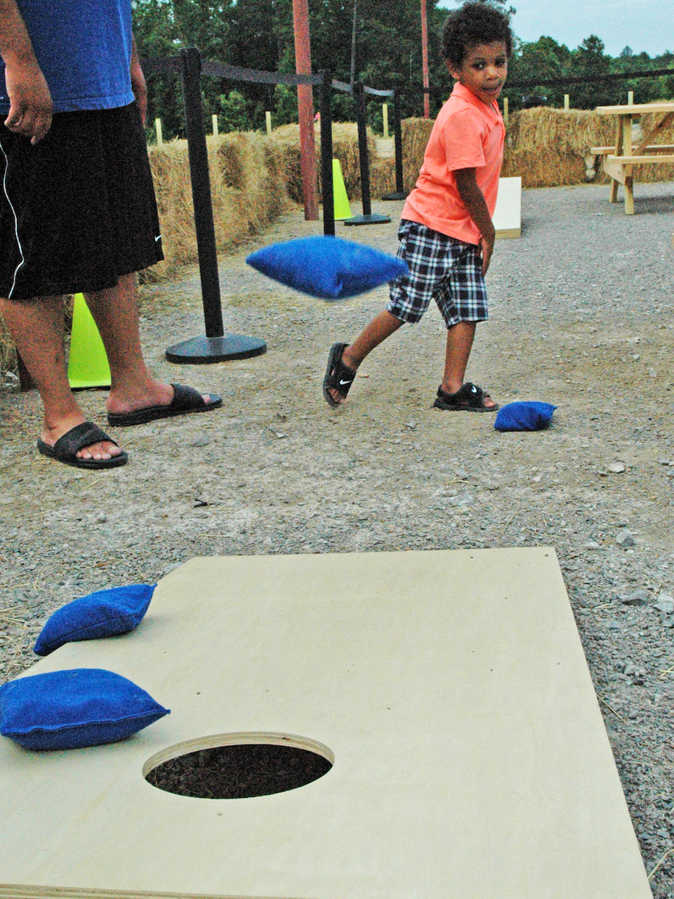 A handsome little fella practices his cornhole skills.