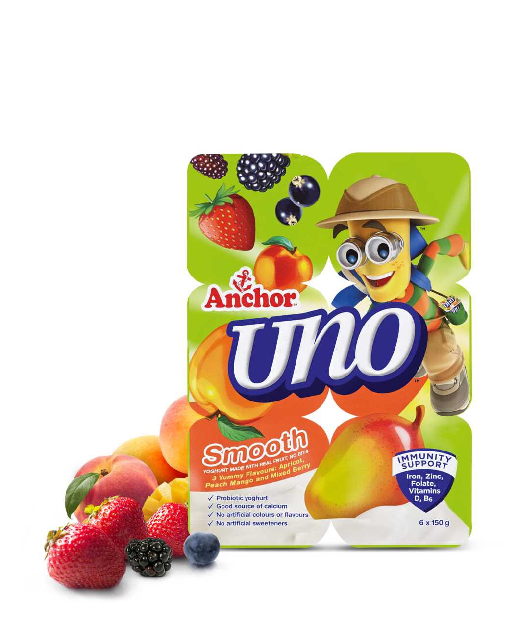 Anchor Uno Apricot, Peach, Mango & Mixed Berry Yoghurt 6 x 150g pack