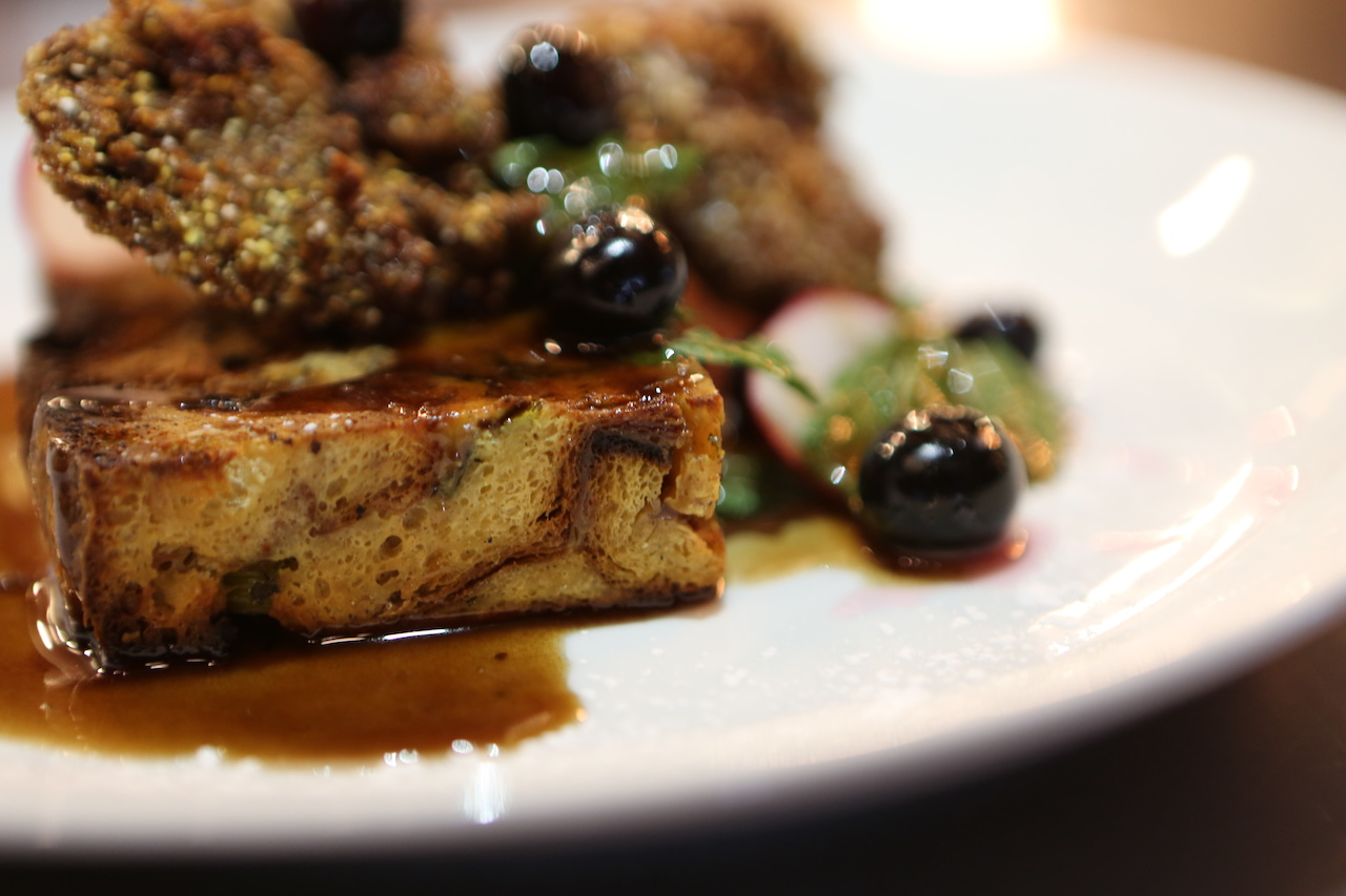 fried chicken livers served with French toast, pickled blueberries and maple port sauce