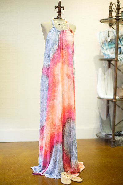 From Sorelle: Hand-dyed halter maxi dress by Brightly Twisted, $184; paired with camel flip-flops from Yosi Samra, $52 and a delicate Gold + Stone necklace with embellishments, $68