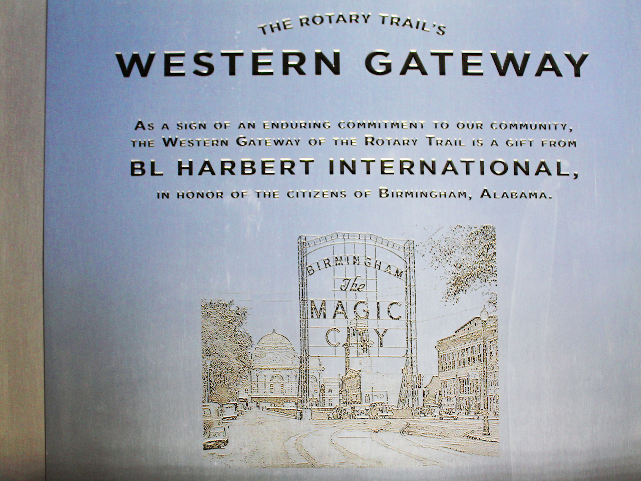 "The original gateway read, ""Birmingham, the Magic City."""