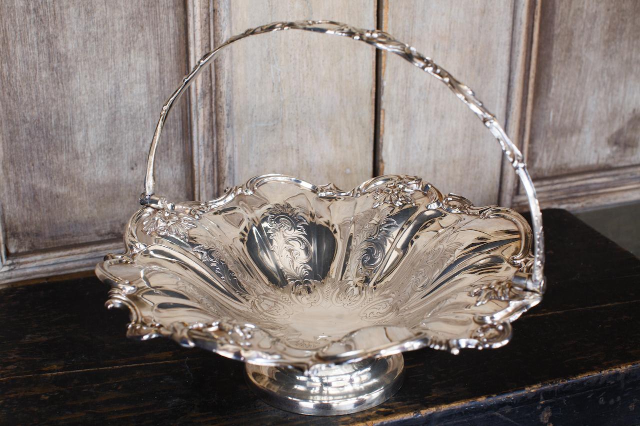 Antique silver basket from LeFleur.
