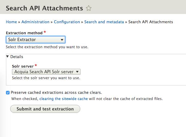 Search Tika extractor configuration screen