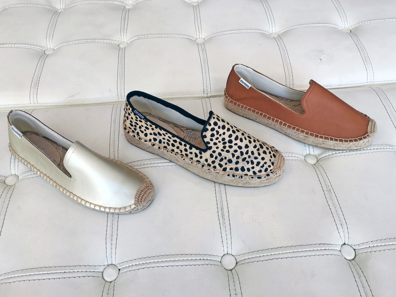 Soludos in tan and silver leather, $98, and leopard-print doe hair, $108, at Stella Blu