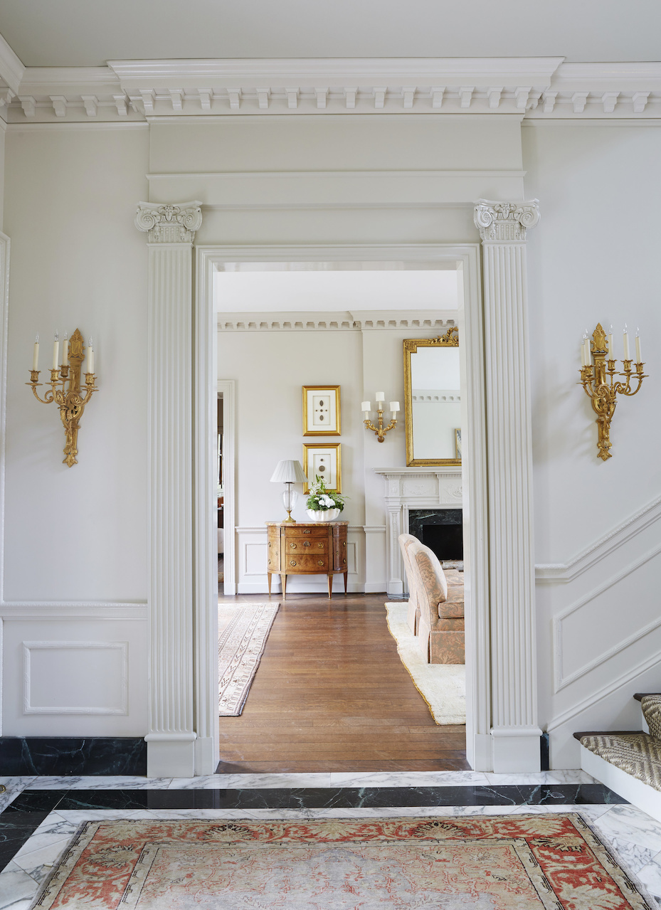 The stunning and stately entrance to the living room, designed by Libby, at the 2016 Decorators' Showhouse in Birmingham, AL