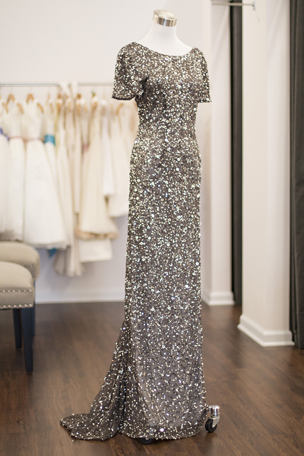 From Bella Bridesmaid: Adrianna Papell sequin dress, $280