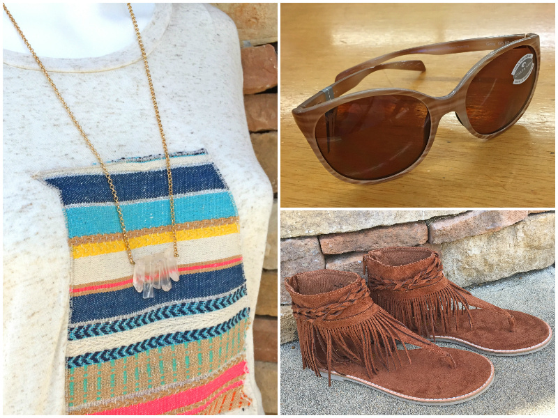 From Rogers Trading Company: crystal bar necklace, $24.99; saddle fringe sandal, $74.99; Costa sunglasses, $149