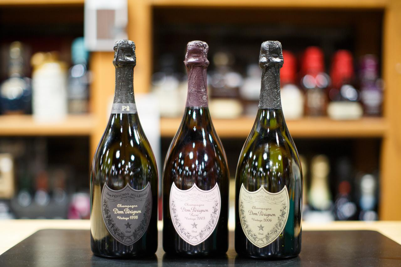 (L-R) DP P2 1998 Vintage, $399.99; DP Rose Vintage 2003, $429.99 and DP Vintage 2006, $249.99 from Wine Market.