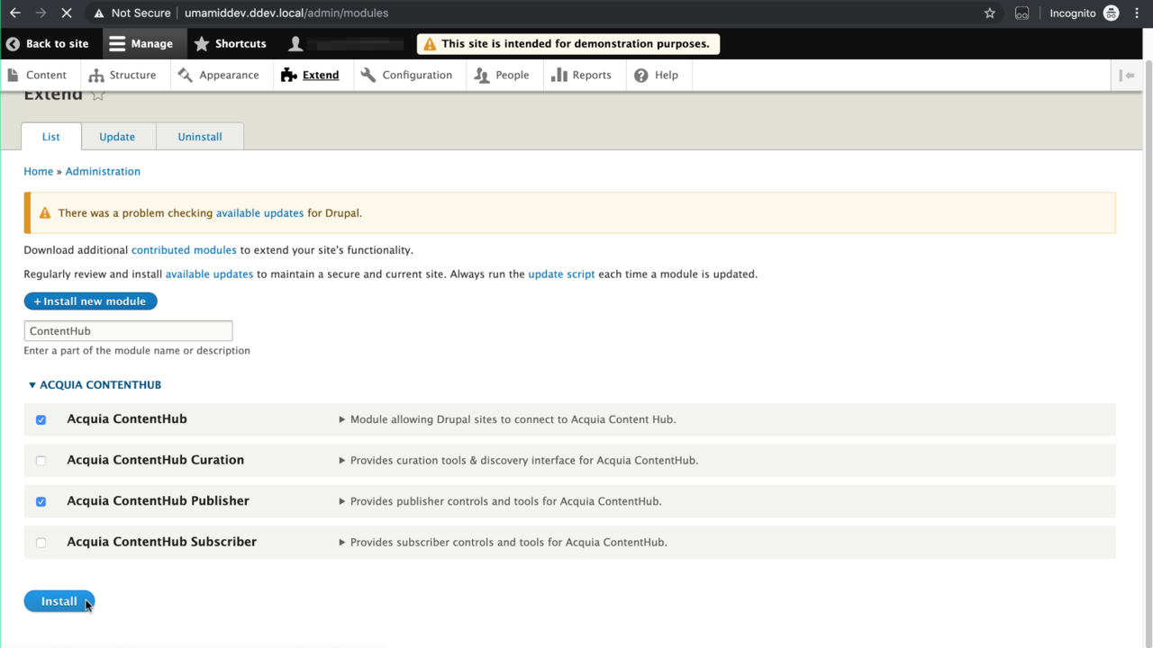 Select the Content Hub and Content Hub Publisher modules to enable