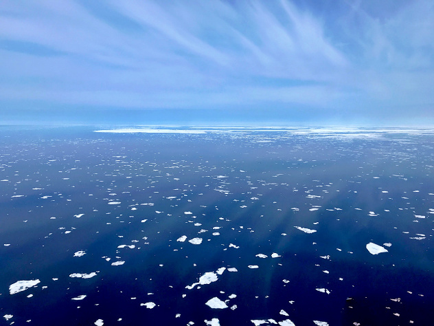 Summer aerial survey photo of small ice flows.