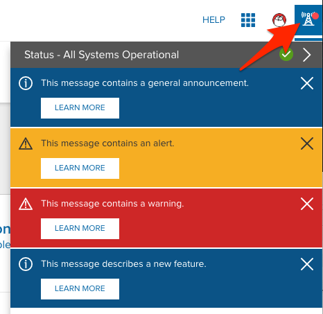 The in-product messaging tray, expanded, showing alert types