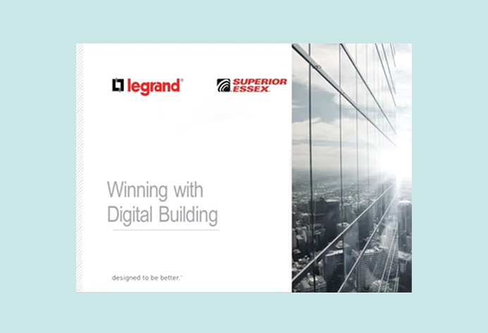 first slide of the Wiring with Digital Building presentation with Legrand and Superior Essex logo