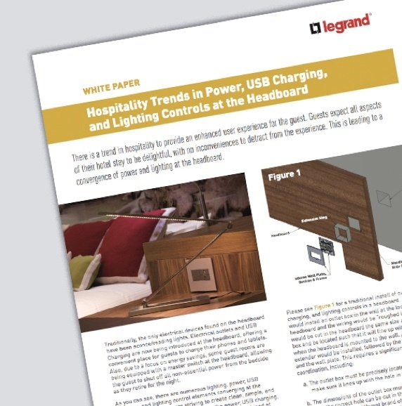 screenshot of adorne Hospitality trends White Paper with showing images of outlets and switches built into wooden hotel furniture