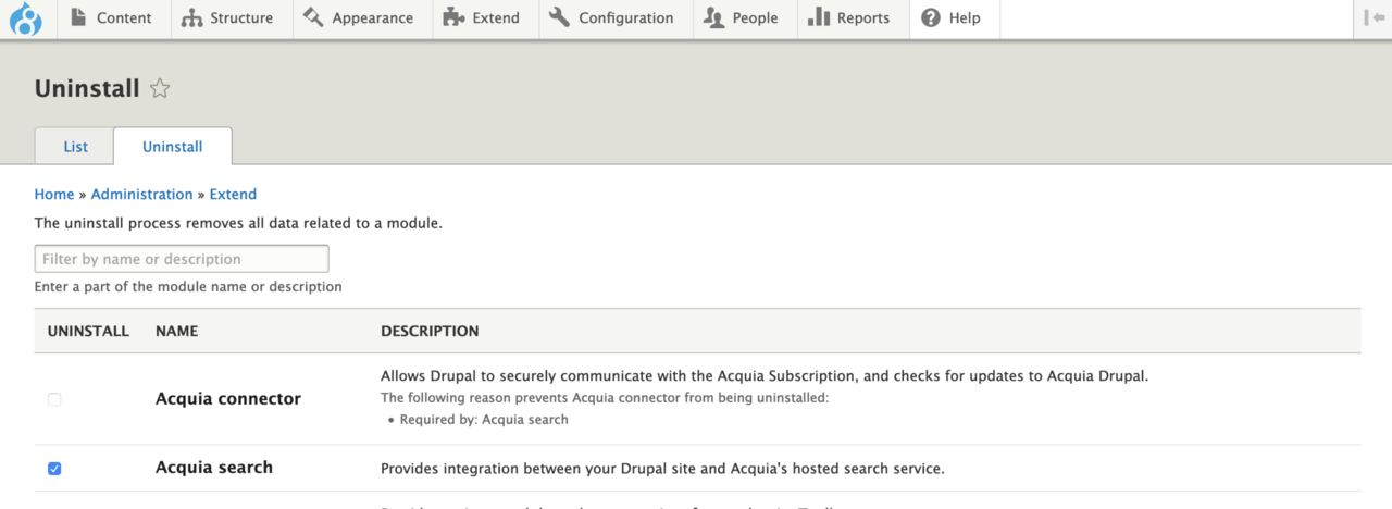 Uninstall the Acquia Search module packaged with Acquia Connector.