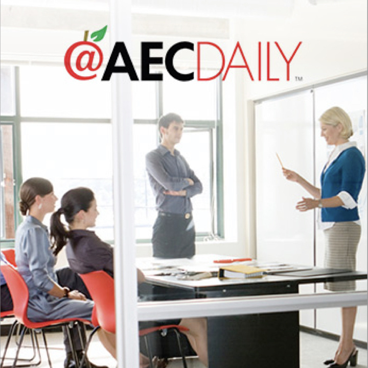 team holding meeting in corporate conference room with AEC Daily logo superimposed at the top